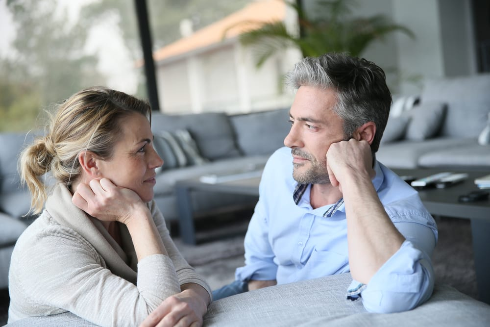 mature couple talking attachment theory concept